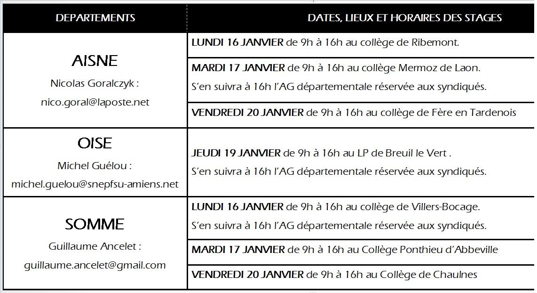 Liste des stages le site du snep fsu amiens - Grille indiciaire prof des ecoles hors classe ...